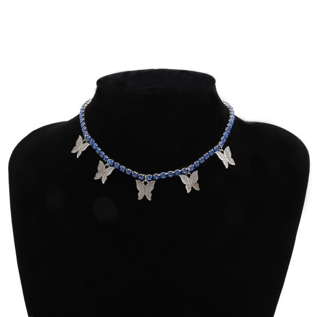 Shimmery Butterfly Choker Necklace - Shoppersy.com