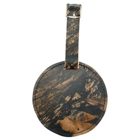 TPK Leather Line – Premium Leather Golf Bag Tag, Round, Mossy Oak