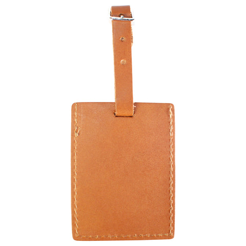 TPK Leather Line – Premium Leather Golf Bag Tag, Rectangular, Brown
