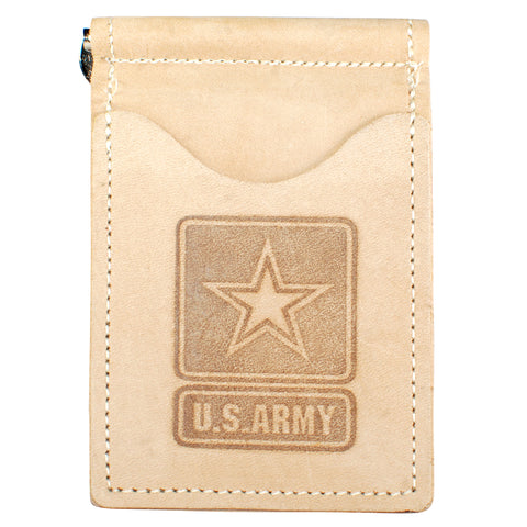 Military Back Saver Wallet – United States Army - Desert Sand, Nubuck Suede Leather with Front Pocket Design