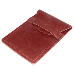 TPK Business Card Holder  – Burgandy Red, Full Grain Leather Business Card Holder