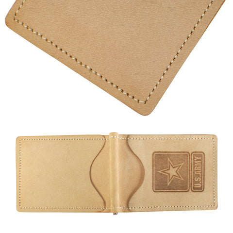 Military Back Saver Wallet For Men And Women – United States Army - Desert Sand, Nubuck Suede Leather with Front Pocket Design