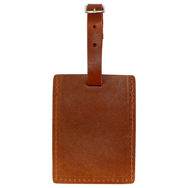 TPK Leather Line – Premium Leather Golf Bag Tag, Rectangular, English Tan