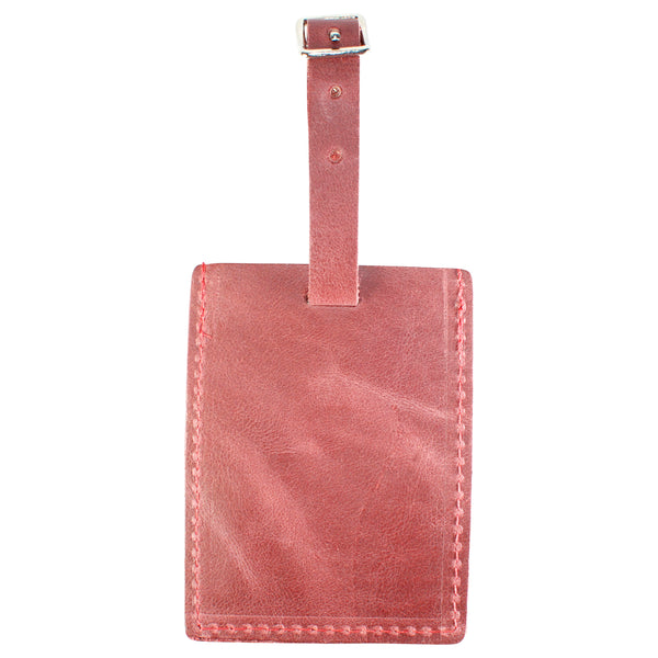 TPK Leather Line – Premium Leather Golf Bag Tag, Rectangular, Red