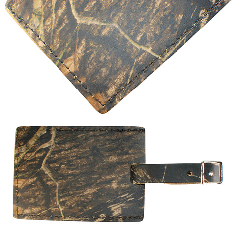 TPK Leather Line – Premium Leather Golf Bag Tag, Rectangular, Mossy Oak
