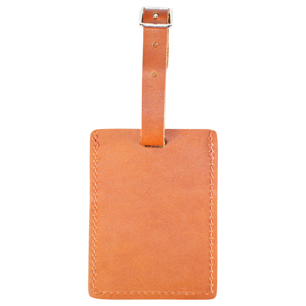 TPK Leather Line – Premium Leather Golf Bag Tag, Rectangular, Burbon Red