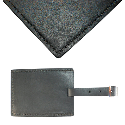 TPK Leather Line – Premium Leather Golf Bag Tag, Rectangular, Charcoal Black