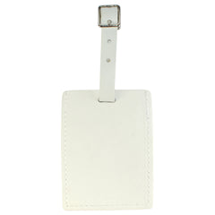 TPK Leather Line – Premium Leather Golf Bag Tag, Rectangular, White Pearl