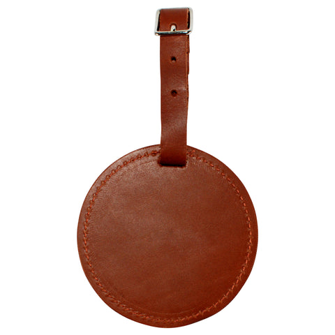 TPK Leather Line – Premium Leather Golf Bag Tag, Round, Brown