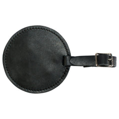 TPK Leather Line – Premium Leather Golf Bag Tag, Round, Ebony Black