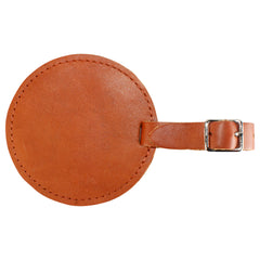 TPK Leather Line – Premium Leather Golf Bag Tag, Round, English Tan