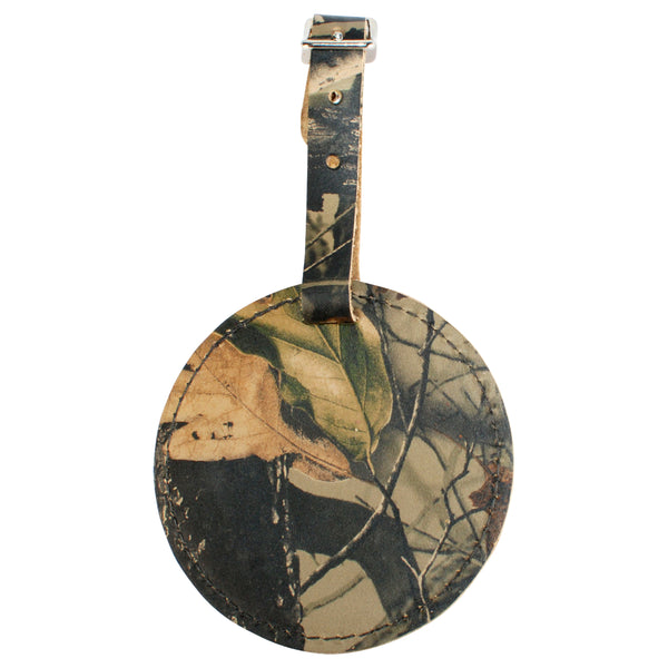 TPK Leather Line – Premium Leather Golf Bag Tag, Round, Realtree Hardwoods