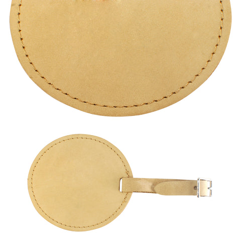 TPK Leather Line – Premium Leather Golf Bag Tag, Round, Desert Sand