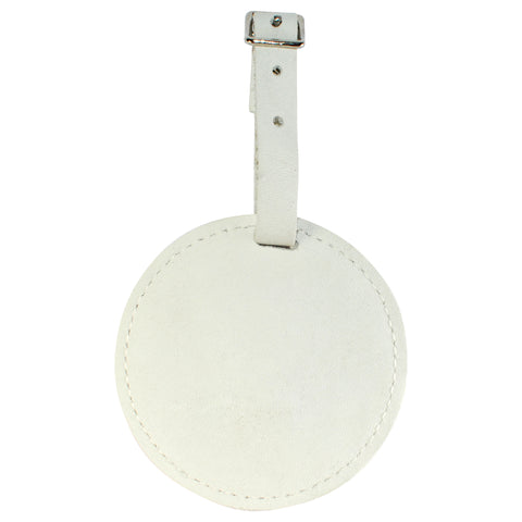 TPK Leather Line – Premium Leather Golf Bag Tag, Round, White Pearl