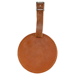 TPK Leather Line – Premium Leather Golf Bag Tag, Round, Bourbon Red