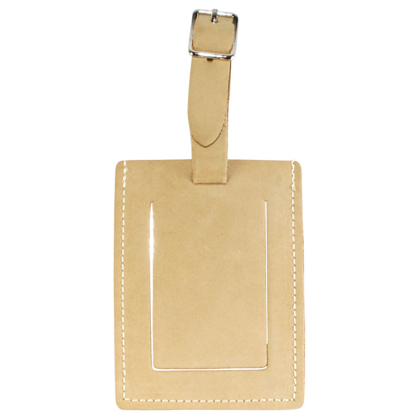 TPK Leather Line Bag Tags – Desert Sand, Premium Leather Luggage Tag