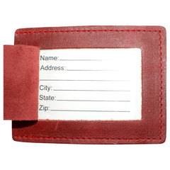 TPK Leather Line Bag Tags – Red, Premium Leather Luggage Tag