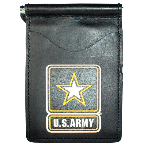 Military Back Saver Wallet – United States Army - Black, Premium Full Grain Leather with Front Pocket Design