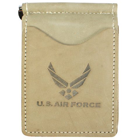 Military Back Saver Wallet For Men And Women – United States Air Force – Light Sage, Nubuck Suede Leather with Front Pocket Design
