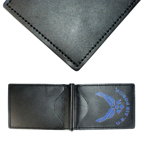 Military Back Saver Wallet For Men And Women – United States Air Force – Black,  Full Grain Leather with Front Pocket Design