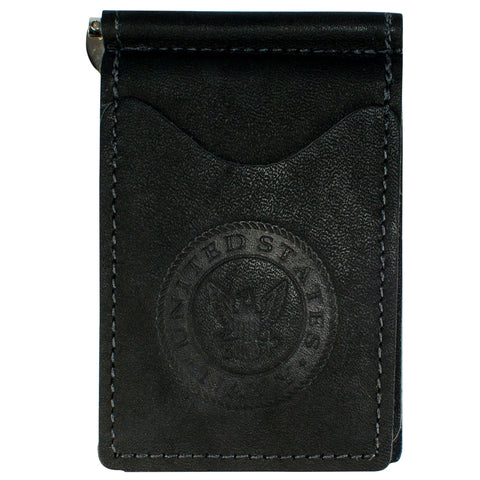 Military Back Saver Wallet For Men And Women – United States Navy – Navy Dove, Nubuck Suede Leather with Front Pocket Design