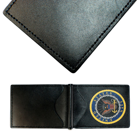 Military Back Saver Wallet – United States Navy – Black, Premium Full Grain Leather with Front Pocket Design
