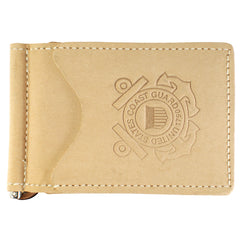 Military Back Saver Wallet For Men And Women– United States Coast Guard - Desert Sand, Nubuck Suede Leather with Front Pocket Design