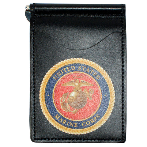Military Back Saver Wallet – United States Marine Corp – Black, Premium Full Grain Leather with Front Pocket Design