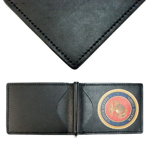 Military Back Saver Wallet For Men And Women – United States Marine Corp – Black, Premium Full Grain Leather with Front Pocket Design