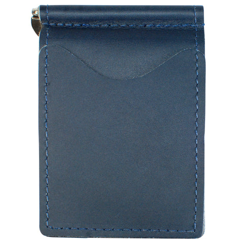 Back Saver Wallet – Ocean Blue Napa, Premium Full Grain Leather with Front Pocket Design, Can Be Customized