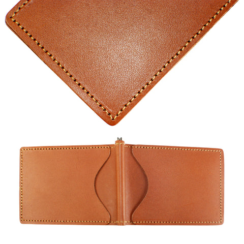 Back Saver Wallet – English Tan, Premium Full Grain Leather with Front Pocket Design, Can Be Customized