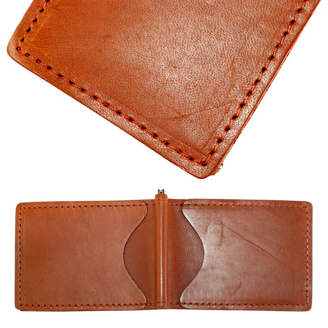 Back Saver Wallet – Bourbon Red, Premium Full Grain Leather with Front Pocket Design, Can Be Customized