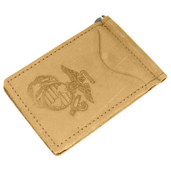 Military Back Saver Wallet For Men And Women– United States Marine Corp – Mohave, Nubuck Suede Leather with Front Pocket Design