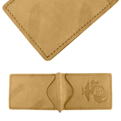Military Back Saver Wallet – United States Marine Corp – Mohave, Nubuck Suede Leather with Front Pocket Design