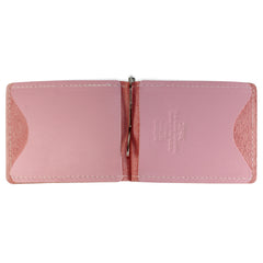 Back Saver Wallet – Pink, Full Grain Leather with Front Pocket Design