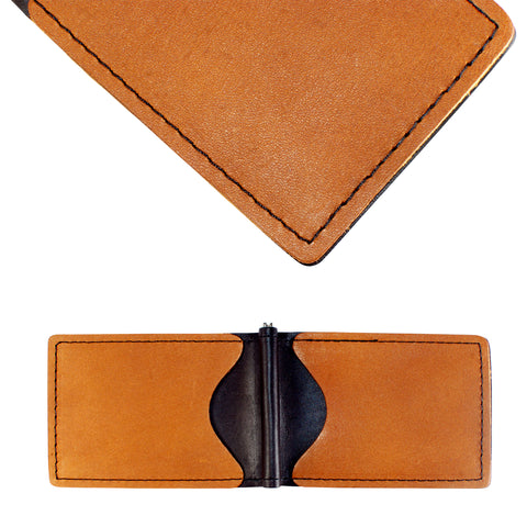 Back Saver Wallet– Black and Brown, Full Grain Leather with Front Pocket Design, Can Be Customized