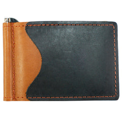Back Saver Wallet – Black/Brown, Full Grain Leather with Front Pocket Design, Can Be Customized
