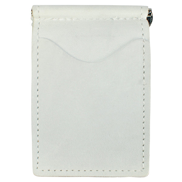 Back Saver Wallet – White Pearl, Full Grain Leather with Front Pocket Design