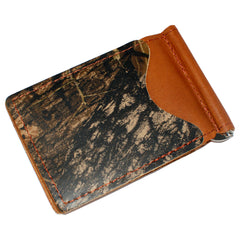 Back Saver Wallet – Brown Mossy Oak - Full Grain Leather with Front Pocket Design
