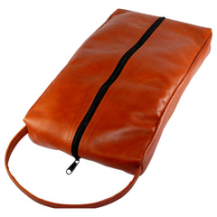 TPK Full Grain Leather  Shoe Bag, Chestnut Brown