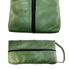 TPK Full Grain Leather  Shoe Bag, Fairway Green