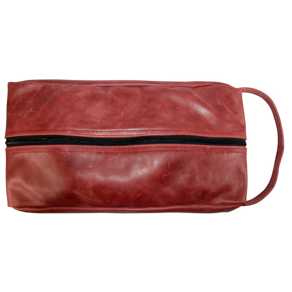 TPK Full Grain Leather  Shoe Bag, Burgundy Red