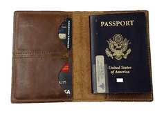 TPK Leather Passport Travel Wallet  – RealTree Hardwoods, Full Grain Leather Passport Holder or Passport Cover