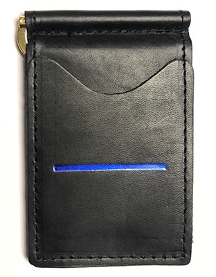 Police Officer Wallet - Black, Full Grain Leather Wallet, Thin Blue Line