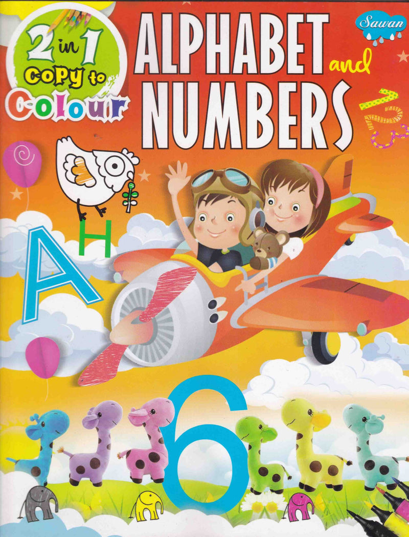2 IN 1 COPY TO COLOUR ALPHABET AND NUMBERS