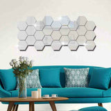 12 Pcs/Set Hexagon Mirrored Decorative Sticker