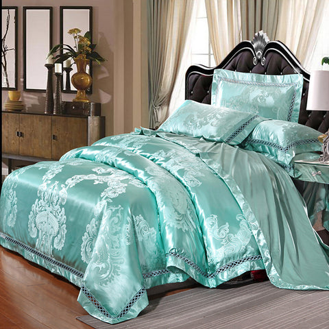 Duvet Cover Sets Luxury Silk / Cotton Blend Jacquard 4 Piece Bedding Set