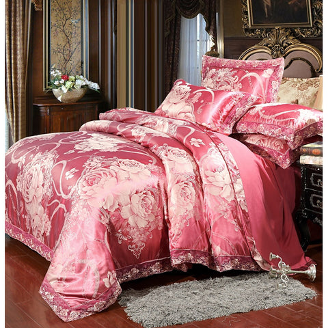Rose Luxury Printed & Jacquard 4 Piece Bedding Sets