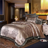 Wedding European Lace satin jacquard Sheet 4 piece bedding set
