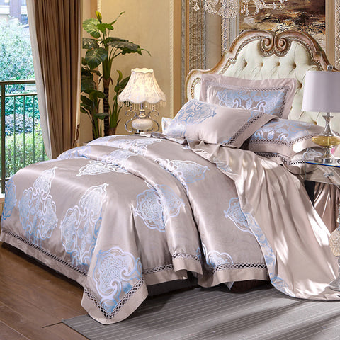 Floral Luxury 4 Piece Silk/Cotton Blend Jacquard Bedding Set